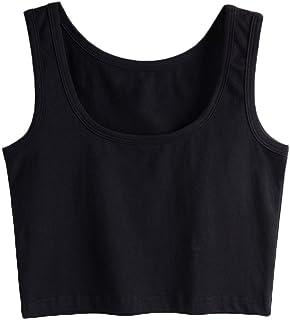 SUNDAY ROSE Womens Basic Solid Sleeveless Tank Crop Top