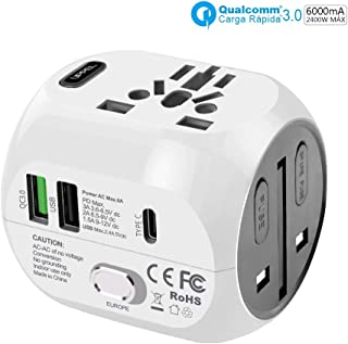 Power Plug Adapter, UPPEL International Travel Power Adapter Travel Charger All in One with QC3.0&USB&Type-C Port Function Charger,Travel Adapter and Converter Used in UK/US/EU AU/Asia(200 Countries)