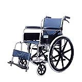 TTWUJIN Ancianos Silla de Ruedas Minusválido Plegable Ligero Reconocimiento Autopropulsable Pedal Ajustable Adecuado para Adulto Parálisis Cerebral Respirable/Azul/Con frenos dela