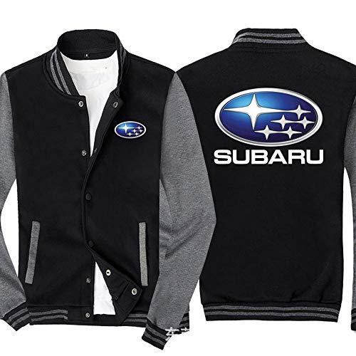 Männer Pullover Jacke - Subaru Printed Sweatshirt Baseball-Trikot Langarm-Zip Trainingsjacken - Teen Gift Black Gray-M