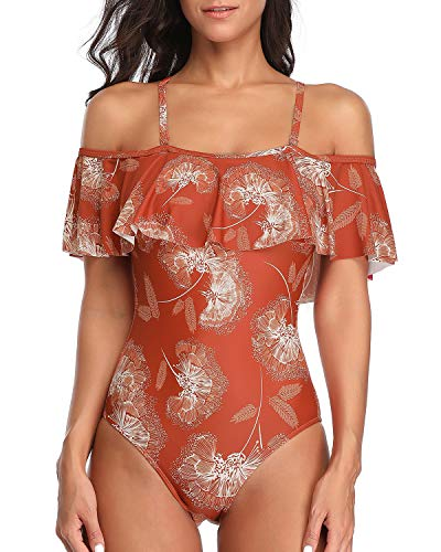 Tempt Me Women's Orange Floral Ruffle One Piece Swimsuits Off Shoulder Flounce Slimming Bathing Suits XXL