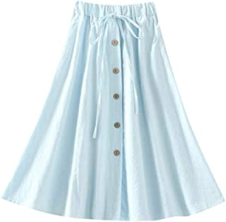 Womens Elastic High Lace Waist Wild Loose Solid Button Leisure Flax Skirt