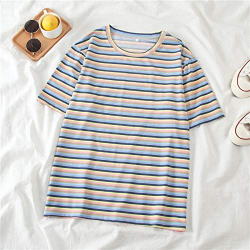 T-Shirt Doux rayé décontracté lâche Femmes Top Pull Femme Vogue Base Tee Shirt été-Bleu_XXL