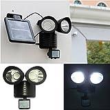 IPUIS 22 LED Lampe Solaire Exterieur Détecteur de Mouvement Lampe de Jardin/Eclairage de Sécurité à Double Tête Projecteur à Induction pour Pelouse, Escalier, Paysage, Allée
