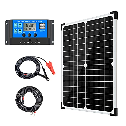 Apowery 20W 12V Solar Panel Kit With Monocrystalline and Battery Maintainer