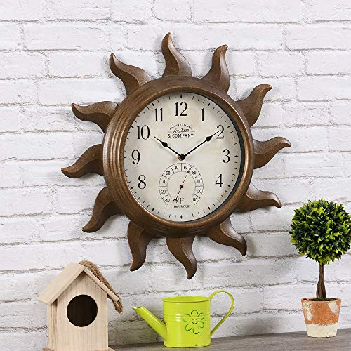 FirsTime & Co. Sundeck Outdoor Clock, American Crafted, Aged Copper, 19 x 1.75 x 19 ,