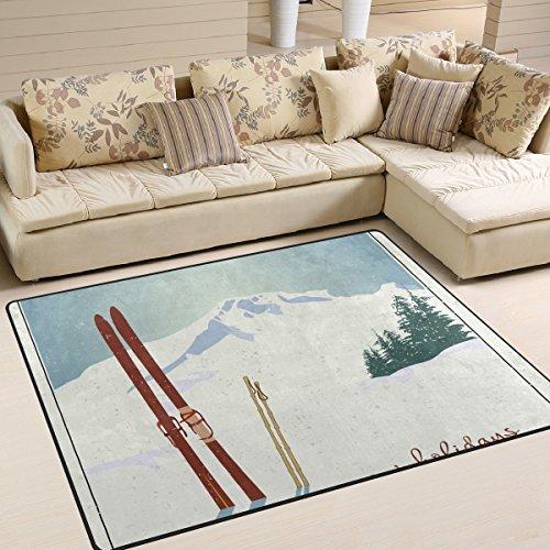 COOSUN bergen en oude snowboard gebied tapijt anti-slip vloermat deurmatten voor woonkamer slaapkamer 63 x 48 inch
