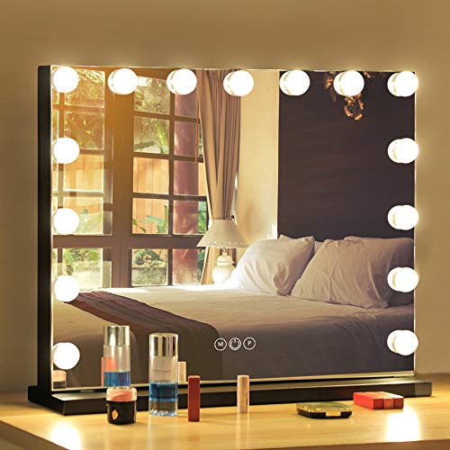 FENCHILIN Vanity Mirror with Lights,Hollywood Lighted Mirror with Dimmer Bulbs,Tabletop or Wall Mounted Vanity Makeup Mirror Smart Touch Control (Black)