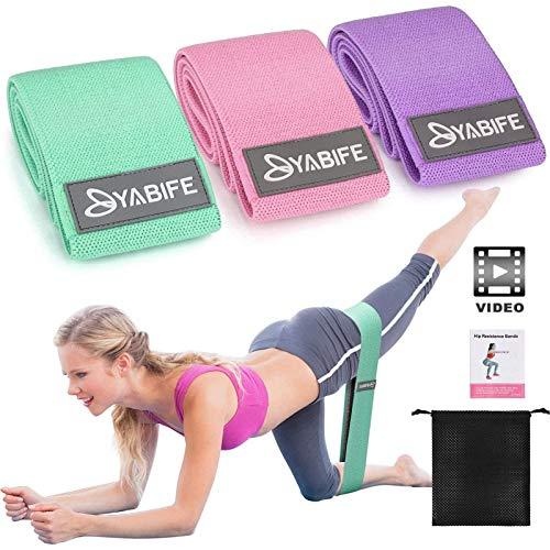 Yabife Elastici Fitness con Video Tutorial, Bande Elastiche con 3 Livelli di Resistenza, Fasce Elastiche Fitness per Esercizi Gambe e Glutei, Yoga, Pilates, Palestra, Casa