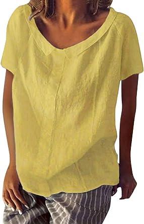 Shallood Camisa de Lino Suelto para Mujer Talla Grande Blusas Casual V Cuello Color Sólido 3/4 Manga De Campana Blusa Camiseta Tops