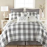 Levtex Home - Camden Quilt Set -Full/Queen Quilt + Two Standard Pillow Shams - Buffalo Check in Grey and Cream - Quilt Size (88 x 92 in.) and Pillow Sham Size (26 x 20 in.)- Reversible Pattern -Cotton