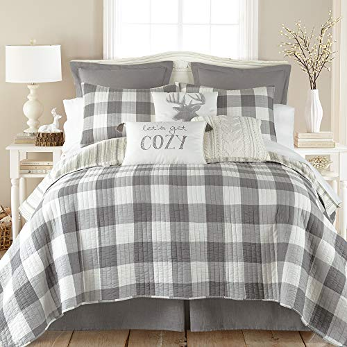 Levtex Home - Camden Quilt Set -King Quilt + Two King Pillow Shams - Buffalo Check in Grey and Cream - Quilt Size (106 x 92 in.) and Pillow Sham Size (36 x 20 in.) - Reversible Pattern - Cotton