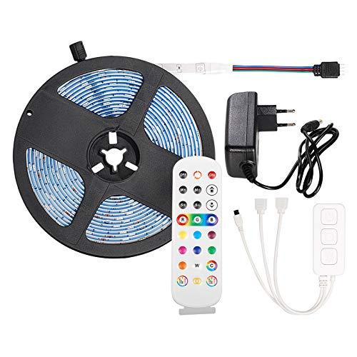 OeyeO - Tira LED de 5 m con 150 LED 12 V 3 A, impermeable IP65, LED Strip Bluetooth RGB, aplicación + 24 teclas mando a distancia + interruptor, para TV, salón, fiestas