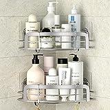 STEUGO Estantería de esquina de ducha adhesiva, estante de ducha de esquina de baño, estante de ducha montado en la pared con 4 ganchos móviles, acero inoxidable SUS304
