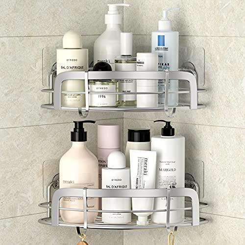 STEUGO Dusche Eckregal, Badregal Shower Shelf Ohne Bohren mit 4 Haken, Dusche Aufbewahrung, SUS304 Edelstahl Shampoo Halterung, 2 Stück Eckregal Bad