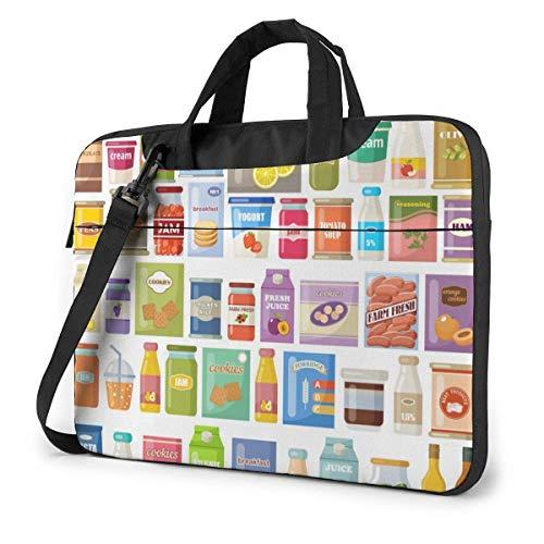 15.6 inch Laptop Tasche Schultertasche Bussiness Messenger Tablet Tasche Laptophülle Cartoon Gourmet Konserven Saft Marmelade Kekse