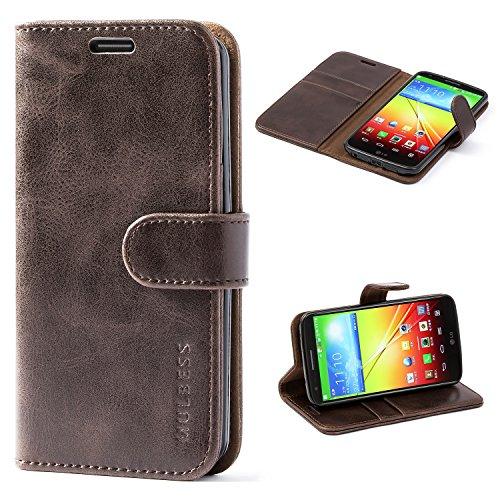 Mulbess Handyhülle für LG G2 Hülle Leder, LG G2 Handy Hüllen, Vintage Flip Handytasche Schutzhülle für LG G2 Hülle, Kaffee Braun