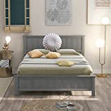 Full Platform Bed, Wood Full Bed Frame with Headboard, Wooden Platform Bed Full Size for Kids , Boys, Girls, Kids, Young Teens and Adults, Gray