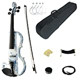 Kinglos 4/4 White Blue Flowers Colored Solid Wood Advanced Electric/Silent Violin Kit