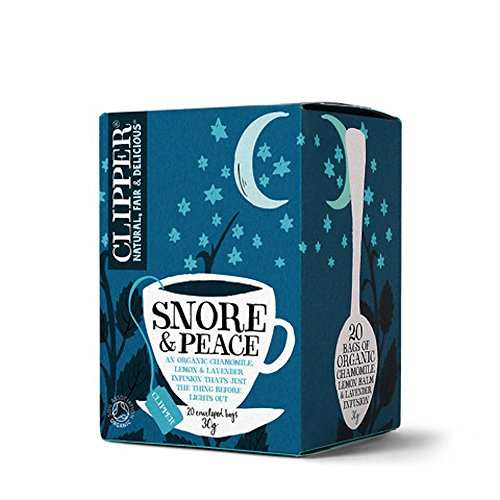 Clipper 2 bolsitas de te organicas de manzanilla, balsamo de limon e infusion de lavanda \Snore & Peace\ (40 en total)