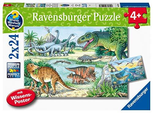 Ravensburger Kinderpuzzle - 05128 Saurier und ihre Lebensräume - 2x24 Teile Wieso? Weshalb? Warum? Puzzle für Kinder ab 4 Jahren