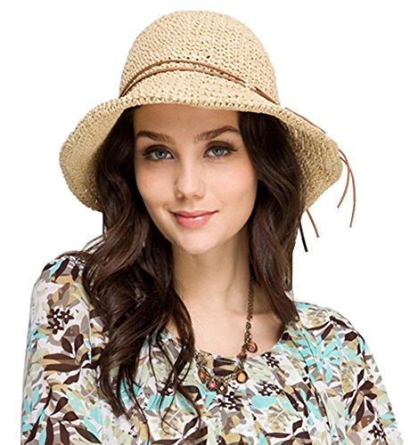 Urban CoCo faltbarer Damenstrohhut mit breiter Krempe, Sommer, Sonne, Strand Gr. Einheitsgröße, Rice