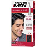 Just For Men Easy Comb-In Color (Formerly Autostop), Gray Hair Coloring for Men with Comb Applicator - Real Black, A-55 (Packaging May Vary)