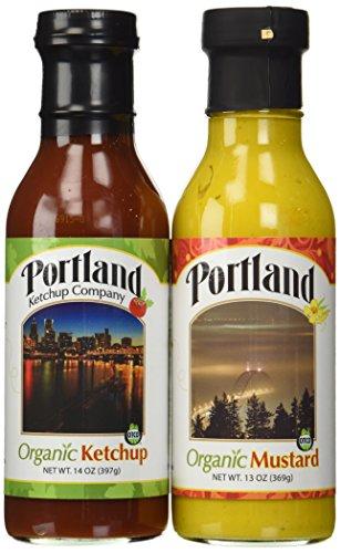 Organic Natural Ketchup and Mustard Set: Portland (Ketchup 14oz/Mustard 13oz) Gluten-Free Organic ingredients Vegan No-GMOs