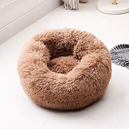 KTUCN Removable Dog Bed, Round Donut Pet Beds Kennel Cushion Puppy Mats Lounger Comfy House Sofa,Coffee,80Cm Removable Cover
