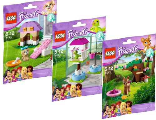 Lego Friends 3-er Set Serie 3 - 41023 Rehkitz im Wald + 41024 Papageienhäuschen + 41025 Welpen Hundehütte