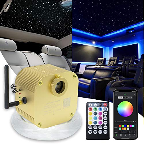 16W Bluetooth Twinkle Fiber Optic Star Ceiling Lights Lamp Kit, LED RGBW Engine Driver APP/Remote Control (335pcs(0.03in+0.04in+0.06in)13.1ft)