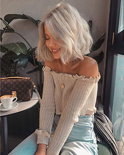2020 Hot Sale Natural Looking Platinum Blonde Short Bob Hair Lace Wigs Fashion Curly Style Synthetic Lace Front Wig for White Women Gift for Christmas Festival