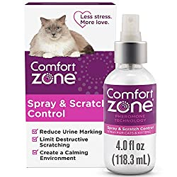 Comfort Zone Scratch Deterrent Spray and Cat Repellent, Value Size, 118 mL or 4 oz