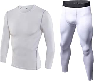 QCHENG Men's Fleece Lined Thermal Underwear 2 pc Long Johns Set Base Layer Top and Bottom Quick-dry Sports Ski Fitness Suit