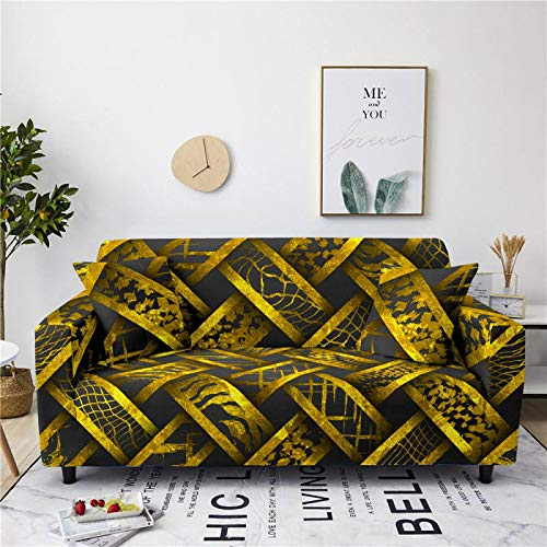 Stretch Sofa Couch Covers Elastic Fabric Gold Weave Pattern Universal Fitted Armchair Loveseat Settee Slipcover Durable Furniture Protector From Dogs/Pets/Kids,1,seat 90,140cm