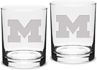 NCAA Michigan Wolverines Adult Set of 2 - 14 oz Double Old Fashion Glasses Deep Etch Engraved, One Size, Clear