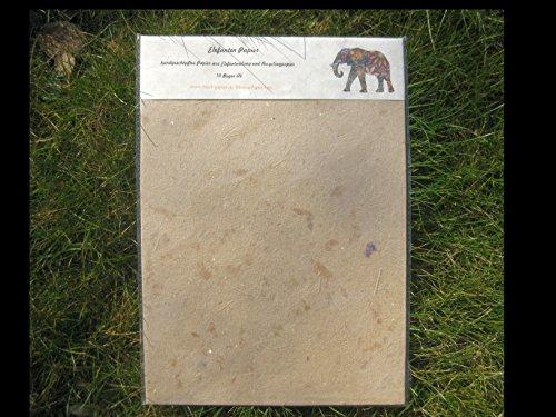 paperfreak: Elefantenpapier handgeschöpft A4 / Papier aus Elefantendung/naturbraun / 10 BogenSet