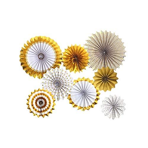 SD SPARKLING DREAM Goldfarbene Papier-Fächer Papier Blumen Dekorationen Papiergirlanden Party Dekoration für Geburtstag/Hochzeit/Abschlussfeier/Veranstaltungen, 8er Set