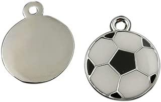 Julie Wang 20pcs Enamel Soccer Football Charms Silver Black White for Women Jewelry Necklace Making Pendants