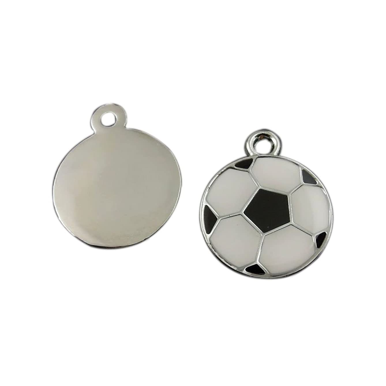 Julie Wang 20pcs Enamel Soccer Football Charms Silver Black White for Women Jewelry Necklace Making Pendants