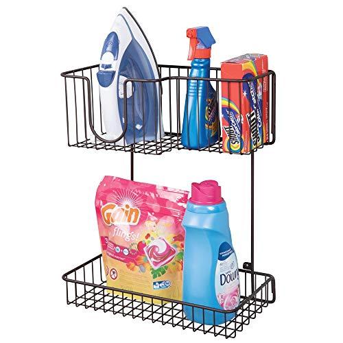 mDesign Soporte de pared para plancha de ropa – Estante metálico para guardar la plancha, los accesorios de planchado, etc. – Compacto colgador de pared para el lavadero – color bronce