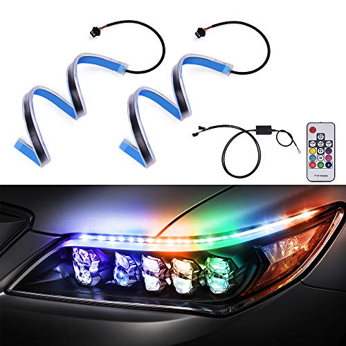 MICTUNING 2 Pcs 18.5 inch RGB Flexible Car LED Light Strip, Multi Color Daytime Running Light Sequential Turn Signal Switchback Decorative Tube Headlight Strip with Remote Control
