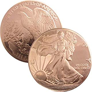 Private Mint Currency Design 1 oz .999 Pure Copper Round/Challenge Coin (Walking Liberty Half Dollar Design)