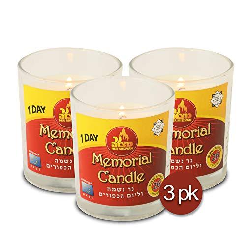Ner Mitzvah 1 giorno Yahrtzeit candela – Confezione da 3 – 24 ore Kosher Memorial e Yom Kippur candela in barattolo di vetro