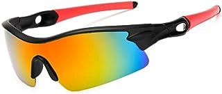 SGJFZD Windshield Sunglasses Sports UV400 Mens Polarized Sunglasses Men's Outdoor Riding Glasses (Color : Red)