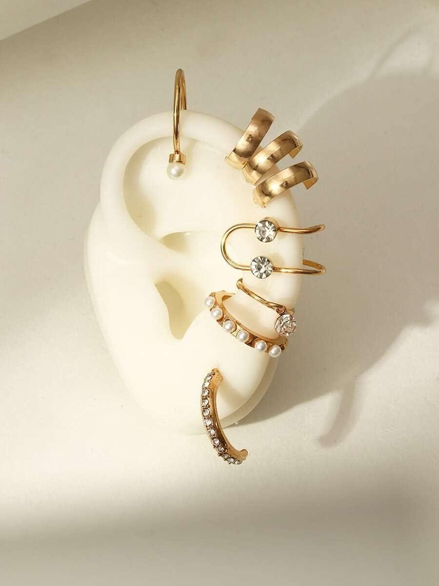 ZHCHL Hoop Earrings 8pcs Faux Pearl & Rhinestone Decor Ear Cuff (Color : Gold)