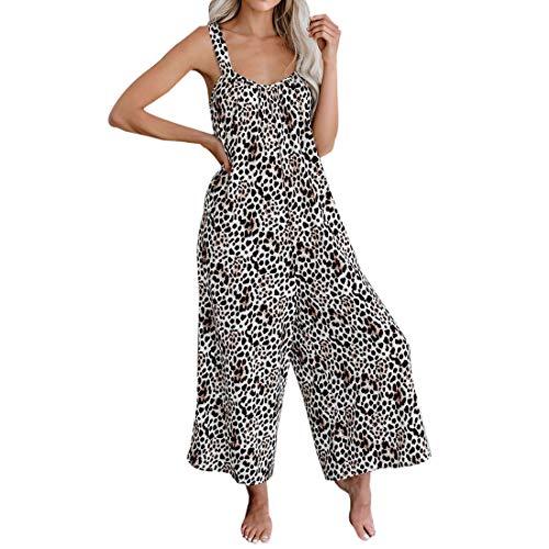 MUYOGRT Salopette Femme Grande Taille Combinaison Pantalon de Jumpsuit V Combinaison sans Manches Sexy Imprimé Jambe Large Casual Romper(Léopard,5XL)