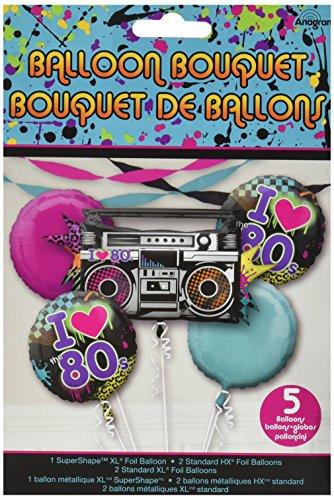 Totally 80s Balloon Bouquet. Includes 1 x Super Shape Balloon, 2 x 18