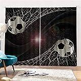 Hailongdia Cortina Opaca, Tratamiento De Ventana 3D Fútbol Creativo Súper Suave En Malla Seda Negra Aislamiento Térmico 250 (H) X150 (W) Cmx2