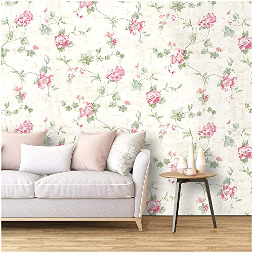 "HaokHome 632664-3M Victoria Floral Wallpaper Peel and Stick Wall Murals 17.7""x 9.8ft Ivory/Pink/Green Prepasted Contact Paper"